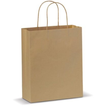 brun papperskasse med tvinnat handtag