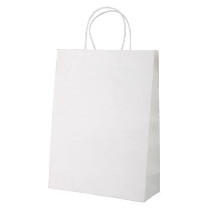 vit papperskasse med tvinnat handtag