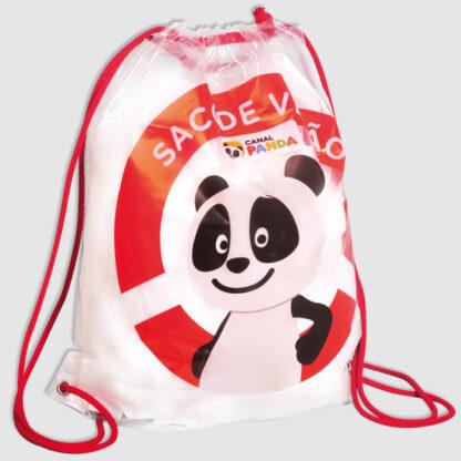 gympapåse i plast med röda snören och tryck i form av en panda