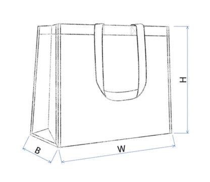 En skiss av en laminerad woven kasse med dimensioner utritade.