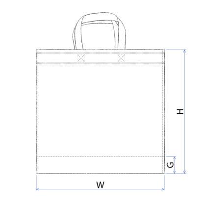 En skiss av en platt Non-woven kasse med dimensioner utritade.
