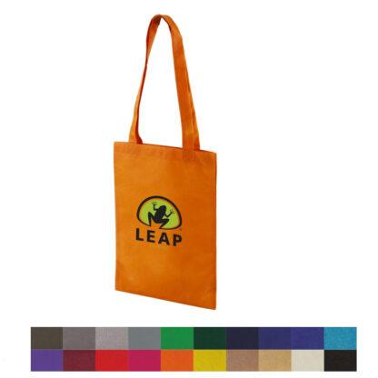 Platt orange Non-woven kasse med svart och grönt tryck